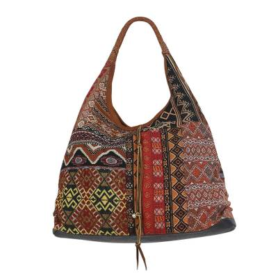 Handmade Leather Trim Cotton Blend Red & Brown Hobo Bag