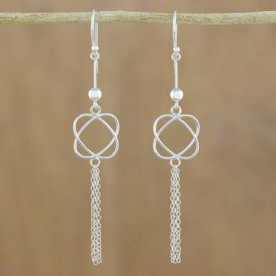 Sterling silver dangle earrings, Shimmering Tassels
