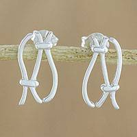 Sterling silver drop earrings, 'Elegant Rope Knots' - 925 Sterling Silver Rope Knots Earrings with Posts