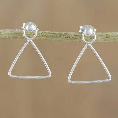 Sterling silver dangle earrings, 'Elegant Triangle' - 925 Sterling Silver Triangle Frame Earrings of Thailand