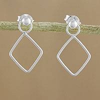 Sterling silver dangle earrings, 'Elegant Diamond' - 925 Sterling Silver Diamond Shaped Frame Earrings