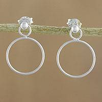 Sterling silver dangle earrings, 'Elegant Loop' - 925 Sterling Silver Loop Shaped Frame Earrings