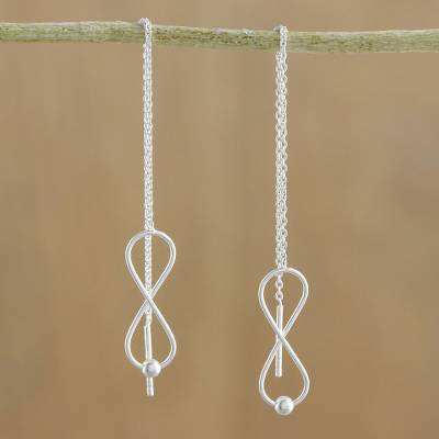 Sterling silver threader earrings, 'Infinite Motion' - Sterling Silver Infinity Symbol Threader Earrings
