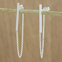 Sterling silver bar and chain hoop earrings, 'Juxtapose' - Sterling Silver Bar and Chain Hoop Earrings