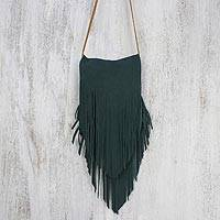 Suede sling, 'Simply Bohemian in Pine Green' - Handcrafted Suede Sling in Pine Green from Thailand