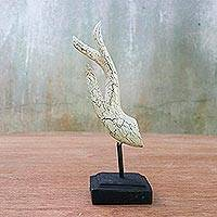 Wood statuette, 'Buddha Greeting in White' - White Crackle Finish Hand Carved Acacia Wood Hand Statuette