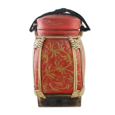Handmade Red and Gold Decorative Rice Jar from Thailand