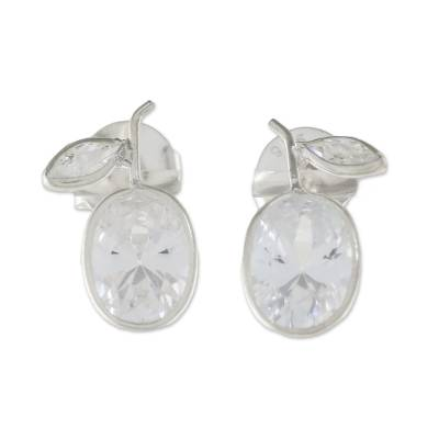 Sparkling Quartz Stud Earrings from Thailand