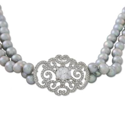 Cultured Pearl Beaded Pendant Necklace from Thailand