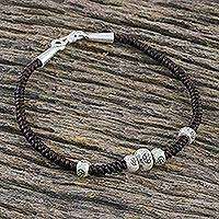 Silver beaded bracelet, 'Natural Companion' - Karen Silver Beaded Bracelet from Thailand