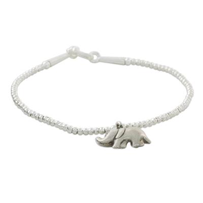 Fine Silver Elephant Charm, Sterling Silver Beaded Bracelet
