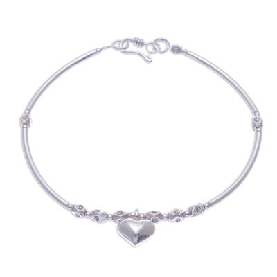 Fine Silver Heart Charm on Sterling Silver Beaded Bracelet
