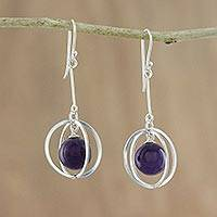 Amethyst dangle earrings, 'Boundless Cosmos' - Amethyst and Sterling Silver Modern Beaded Dangle Earrings