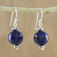 Lapis lazuli dangle earrings, 'Karen Mystery' - Thai Lapis Lazuli Dangle Earrings with Karen Silver Accents