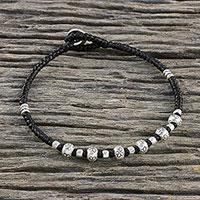 Silver beaded macrame bracelet,