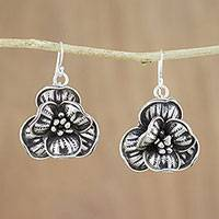 Silver dangle earrings, 'Rare Flowers' - Sterling Silver and 950 Silver Flower Dangle Earrings