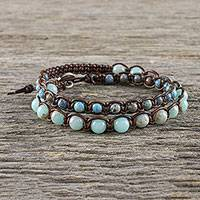 Jasper and agate beaded macrame wrap bracelet, 'Oceanic Wanderer' - Handmade Unisex Beaded Macrame Wrap Bracelet from Thailand