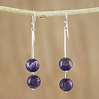 Amethyst beaded dangle earrings, 'Dreamy Wonder' - Thai Amethyst and Sterling Silver Beaded Dangle Earrings