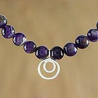 Amethyst pendant necklace, 'Dreamy Wonder' - Amethyst and Sterling Silver Beaded Pendant Necklace