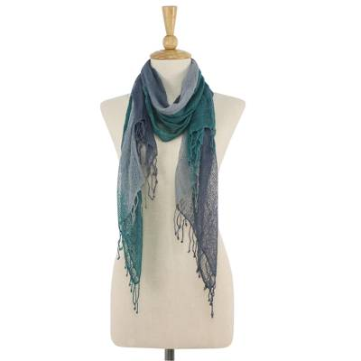Silk scarf, 'Smoky Forest' - Handwoven Grey and Green Fringed Silk Scarf from Thailand