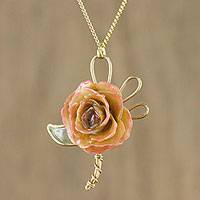 Natural flower pendant necklace, 'Enchanting Rose' - Handmade Natural Rose Flower Pendant Necklace from Thailand
