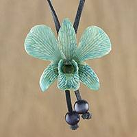 Natural flower lariat necklace, 'Exotic Turquoise Bloom' - Handmade Natural Orchid Flower Long Lariat Necklace