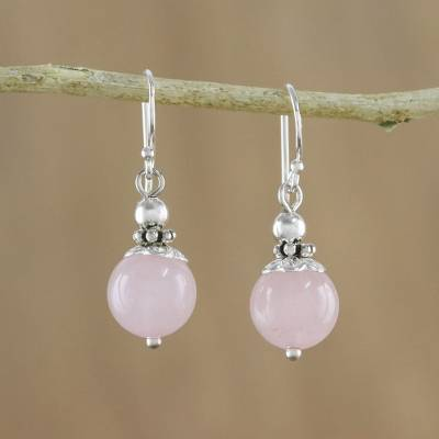 Rose quartz dangle earrings, 'Candy Cloud' - Handcrafted Rose Quartz and Sterling Silver Dangle Earrings