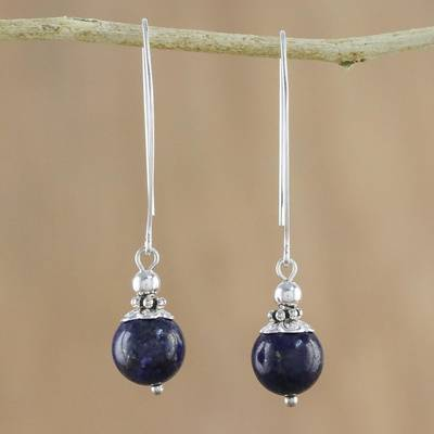 Lapis lazuli dangle earrings, 'Midnight Illusions' - Handcrafted Lapis Lazuli and Sterling Silver Dangle Earrings