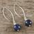 Lapis lazuli dangle earrings, 'Midnight Illusions' - Handcrafted Lapis Lazuli and Sterling Silver Dangle Earrings (image 2b) thumbail