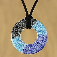 Ceramic pendant necklace, 'Sky Light' - Adjustable Blue Circle Sky Light Ceramic Pendant Necklace