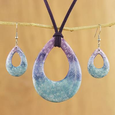 Ceramic jewelry set, 'Feather Beauty' - Swirl and Feather Ceramic Necklace and Earrings Jewelry Set