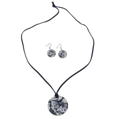 Handmade Blue Floral Ceramic Necklace and Earring Set
