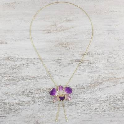 Gold accent natural orchid pendant necklace, 'Charming Orchid' - Thai Gold Accent Purple Natural Orchid Pendant Necklace