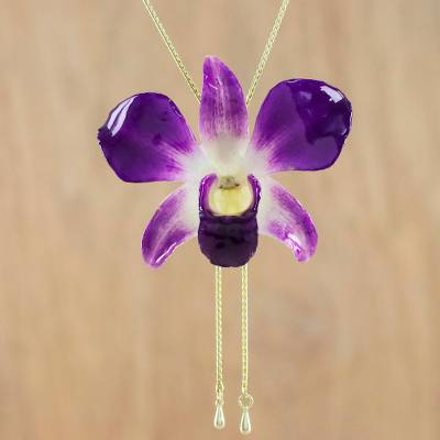 Gold accent natural orchid pendant necklace, 'Orchid Majesty' - Genuine Purple Orchid Resin Pendant Necklace with Gold Chain