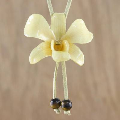 Natural flower lariat necklace, 'Exotic Cream Bloom' - Handmade Natural Orchid Flower Long Lariat Necklace