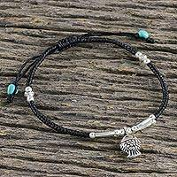 Silver beaded bracelet, 'Vacation Time' - Hill Tribe 950 Silver and Aqua Calcite Sliding Knot Bracelet