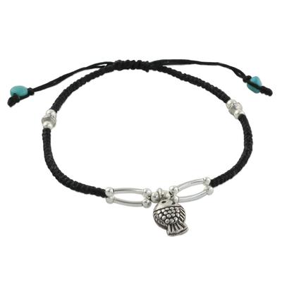 Handmade Calcite Fine Silver Fish Charm Adjustable Cord Bracelet