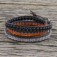 Carnelian and chalcedony beaded wrap bracelet, 'Sunset Wanderlust' - Unisex Leather and Multi-Gemstone Beaded Wrap Bracelet