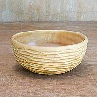 Wood decorative bowl, 'Exotic Groove' - Artisan Hand-Carved Raintree Wood Grooved Decorative Bowl