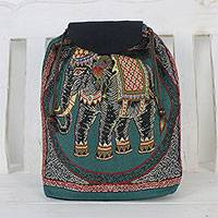Cotton backpack, 'Northern Thai Forest' - Handmade Embroidered Thai Elephant Drawstring Backpack