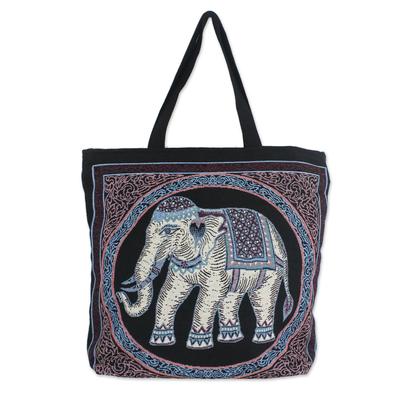 Embroidered Spring Thai Elephant Cotton Shoulder Handbag
