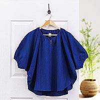 Cotton blouse, 'Wondrous in Blue' - Blue Cotton Women's Blouse with Butterfly Sleeves