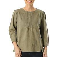 Cotton blouse, 'Sage Garden' - Sage Green Pintuck Pullover Cotton Blouse with Button
