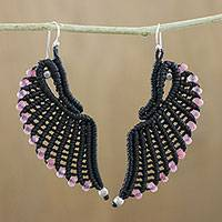 Quartz cord dangle earrings, 'Pink Free Wings' - Handmade Black Cord Dyed Quartz Beaded Wing Dangle Earrings
