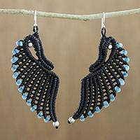 Quartz cord dangle earrings, 'Blue Free Wings' - Handmade Black Cord Blue Quartz Wing Dangle Earrings