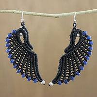 Quartz cord dangle earrings, 'Dark Blue Free Wings' - Dark Blue Quartz and Black Cord Wing Dangle Earrings