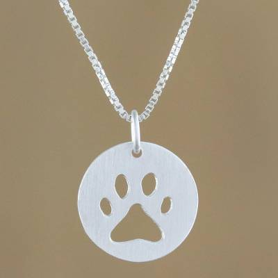 Sterling silver pendant necklace, 'Paw Print' - Sterling Silver Pawprint Pendant Necklace from Thailand