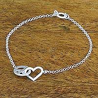 Sterling silver pendant bracelet, 'Love for All' - Heart and Peace Sterling Silver Pendant Wristband Bracelet