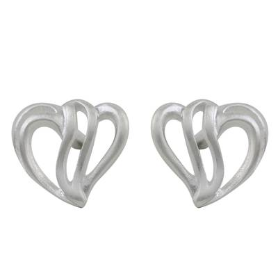Sterling Silver Heart-Shaped Stud Earrings from Thailand