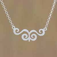 Sterling silver pendant necklace, 'Swirling Dance' - Sterling Silver Swirl Motif Pendant Necklace from Thailand